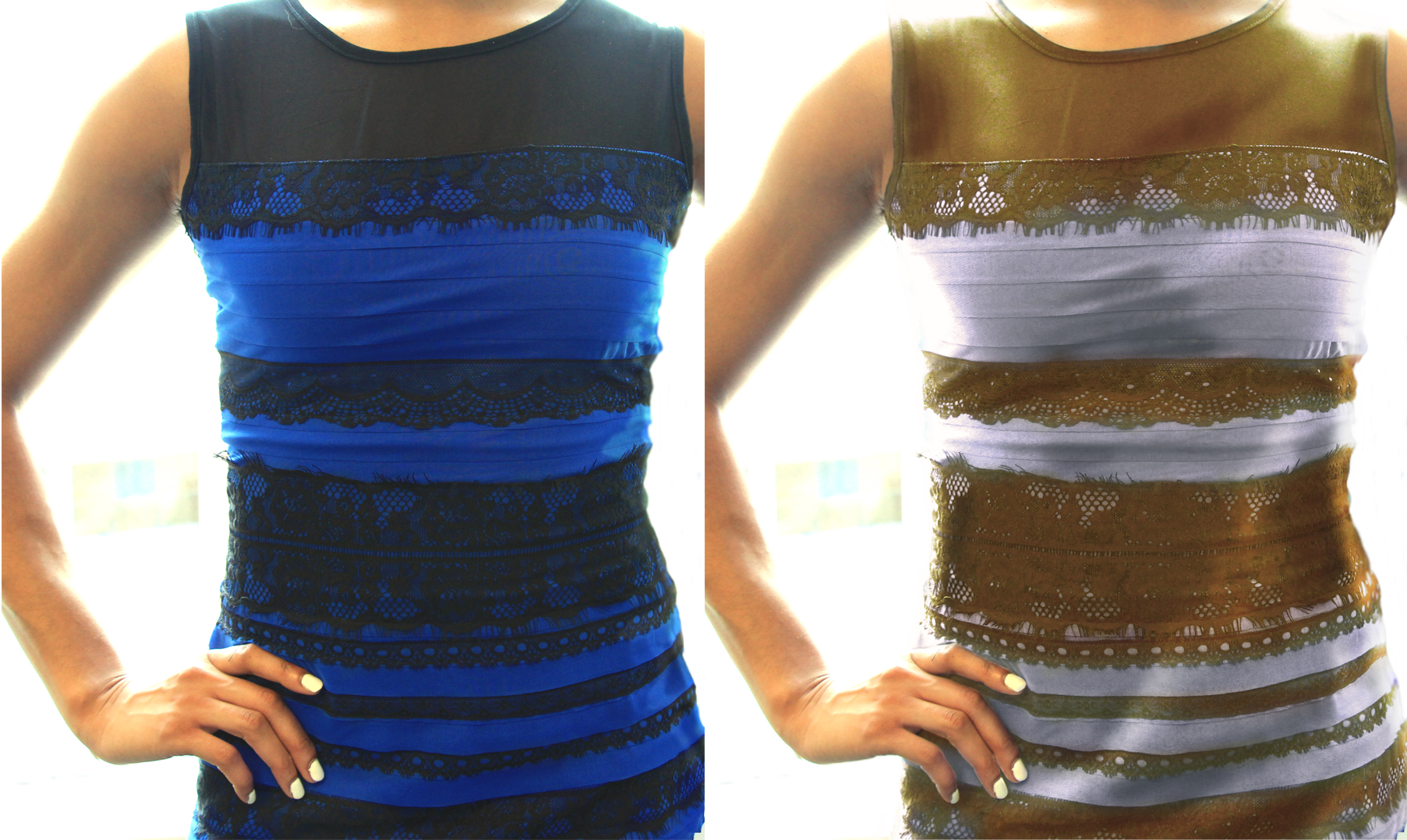White and gold dress blue and black original pictures