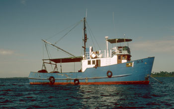 Photo of the Ugandan trawler that was used to extract cores from the bottom of Lake Victoria.