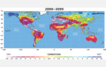 Map of Earth showing widespread drought in 2099.
