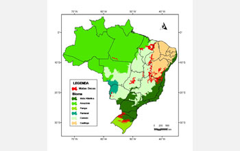 Map showing the distribution of tropical dry forests in Brazil in red in various biomes.