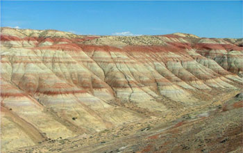 Photo of thick red rocks in the Bighorn Basin near Worland, Wyoming.