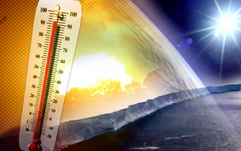 graphic illustration showing a termometer, the sun, ocean and ice