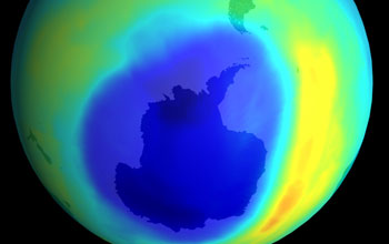 Illustration showing the ozone hole in the Southern Hemisphere
