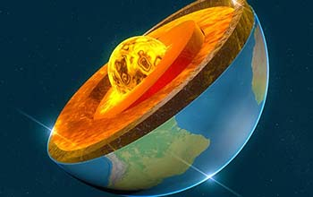 earth's crust and core; 3D rendering