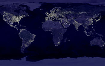 nighttime lights visible on earth from outer space.