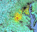 Map of central Virginia showing the August, 2011 earthquake epicenter.