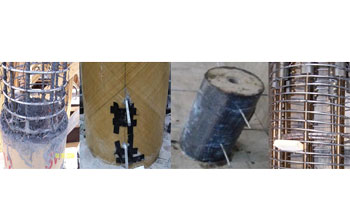 Samples of cement-polyvinyl fiber mixture; fiberglass column; carbon fiber column; nickel titanium