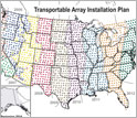 Map of the United States showing EarthScope's installation plan for the Transportable Array.