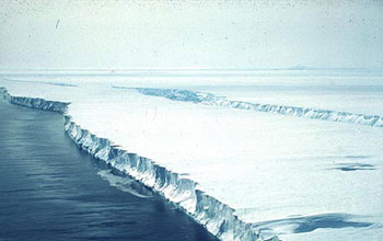 Photo of the Pine Island Glacier of Antarctica.