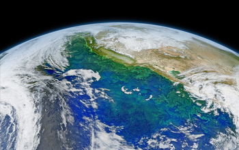 Phytoplankton bloom in the Pacific Ocean.