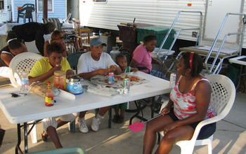 Family members eating at a table