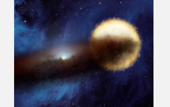 Artist's concept of supergiant star Epsilon Aurigae starting to be eclipsed by the dust disk.