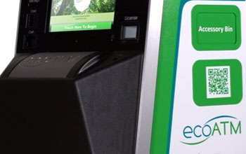 Image of a kiosk developed by ecoATM for exchanging used electronics for cash or a donation.