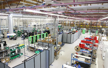 Image of the floor of the facility where ecoATM kiosks are manufactured.