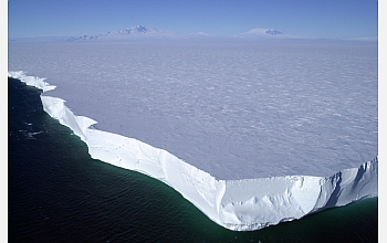 This iceberg is a fragment of a much larger one that broke away from the Ross Ice Shelf.