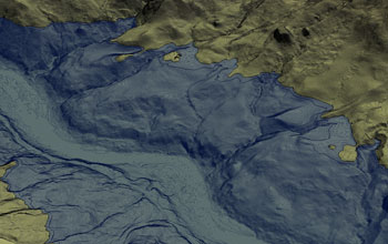 Image of the lake's shore cut into opposite hillslope, forming broad, flat areas shown in contours.