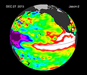 A satellite image at the equator of a recent, strong El Niño.
