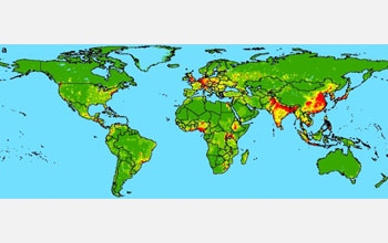 Map showing regions where people have increasing contact with wildlife.