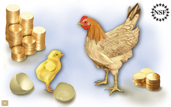 Picture of chick and chicken with large and small stack of coins.
