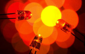 Image of red LEDs, an energy-efficient light source becoming more widespread.