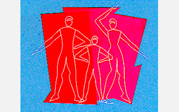 Illustration of a man, woman and child on a red polygon with blue margin.