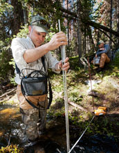 Photo of University of Wyoming Associate Professor Scott Miller measuring streamflow in a creek.