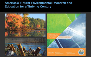collage of images showing a forest, water and solar panels