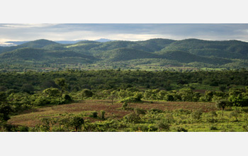 Photo of agricultural area in southern Zambia with hills in background..