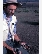 Photo of John Kappelman holding fossilized teeth
