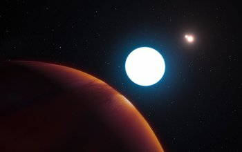 Artist's impression of a planet in a triple-star system discovered by a University of Arizona team.