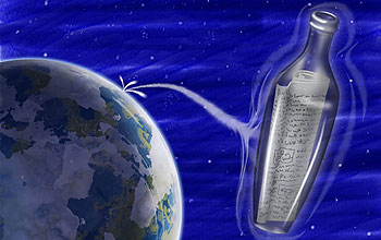 Illustration shows message in a bottle, Earth in background.