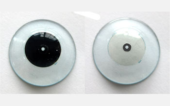 Image of the polarized contact lens which enables a wearer to see near-to-eye imagery.
