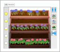 Computer screen capture showing which types of plants grow in which flowerboxes.