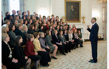 Photo of President Obama talking with math and science teachers honored on Jan. 6, 2010.