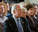 Photo of Vice President Joe Biden, Jill Biden, and teachers listening to President's remarks.