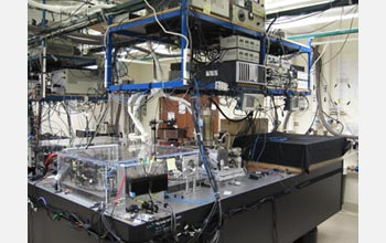 Photo of the laboratory setup, showing the optical table that supports the vacuum chamber.