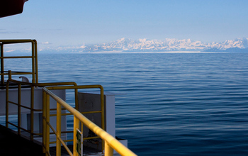 The coast of Alaska and the Bering Glacier viewed from the ocean drillship JOIDES Resolution.