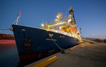 The research vessel JOIDES Resolution about to leave Australia as it embarks on the expedition.