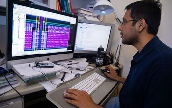 Siddharth Joshi at work designing a computer chip