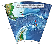 Map showing proposed drill sites in the Scotia Sea for IODP Expedition 382.