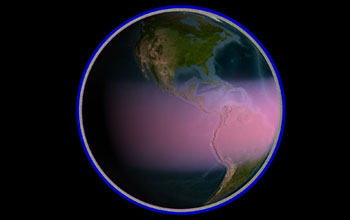 Image of Earth with a purple border and red area extending across equatorial region.