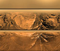 Photos from the Huygens probe descending onto the surface of Saturn's moon, Titan.