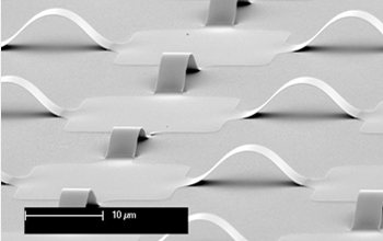 Close-up of the silicon photodetector pixels and electronics interconnected by arc-shaped ribbons.