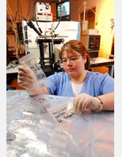 Photo of graduate student Christina Hampton showing samples of drugs.