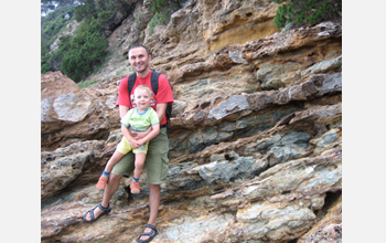 Photo of Cristiano and Claudio Collettini at the Zuccale Fault, Isle of Elba, Italy.