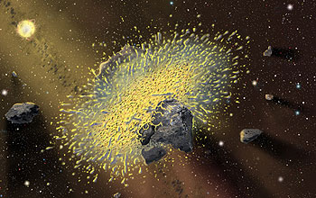 Rocky objects collide and make dust.