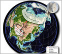 globe map showing Pliocene Tibetan fox localities, Ice Age arctic fox  and today's arctic fox.