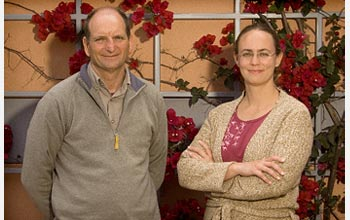Photo of researchers David Bowman and Jennifer Blach.