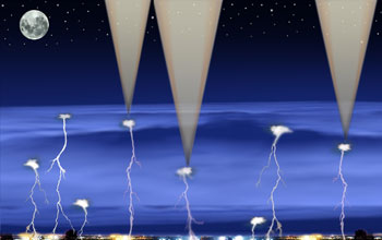 Illustration showing gamma ray bursts and lightning.