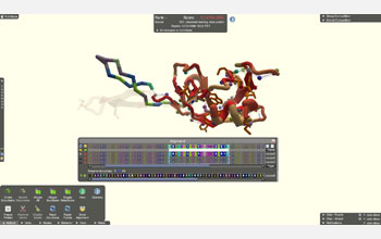 Screenshot of the unsolved monkey virus protein Foldit puzzle.